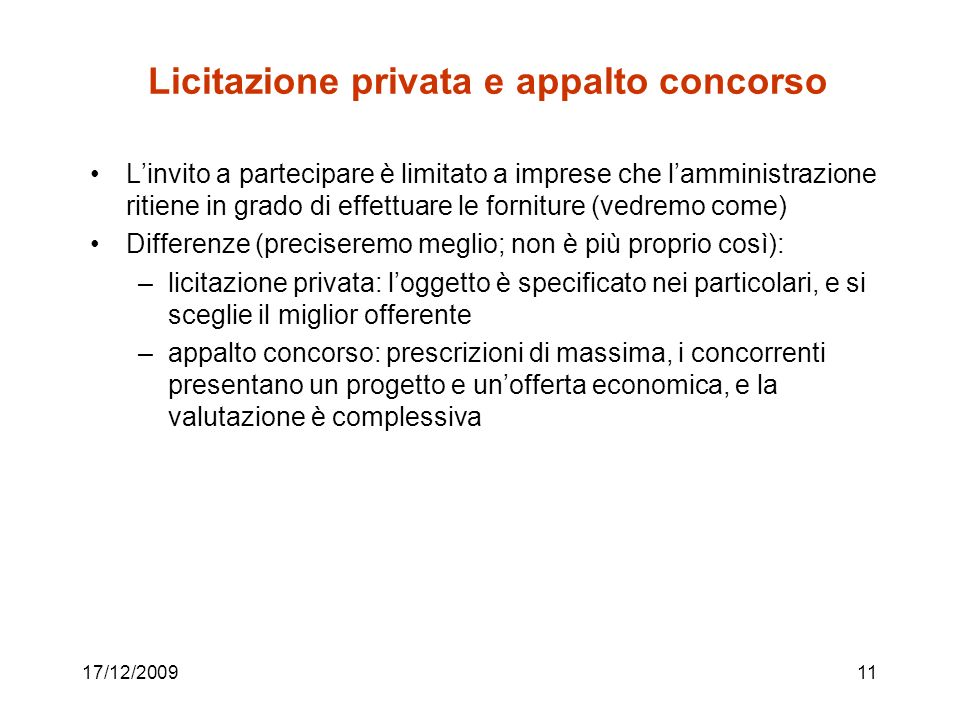 Licitazione privata e appalto concorso