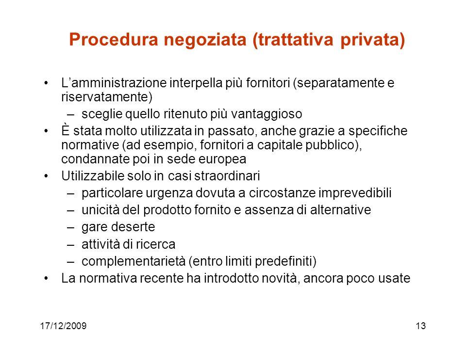 Procedura negoziata (trattativa privata)