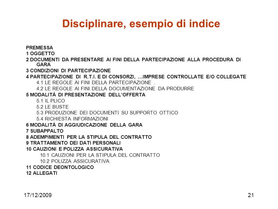 Disciplinare, esempio di indice