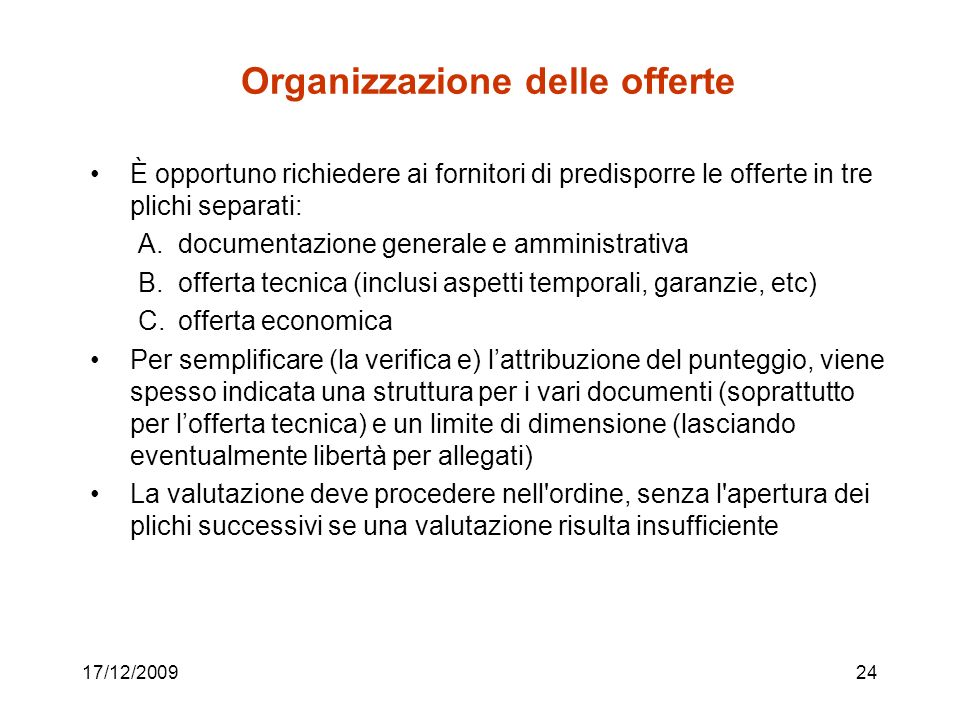Organizzazione delle offerte