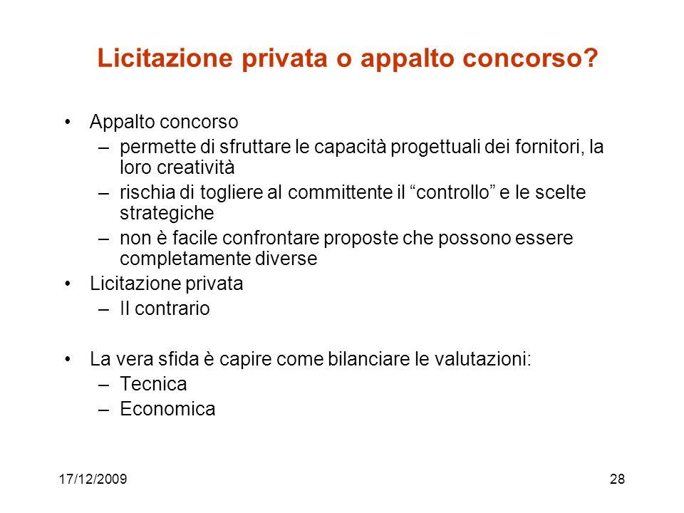 Licitazione privata o appalto concorso