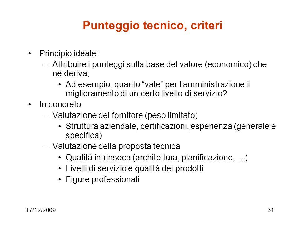 Punteggio tecnico, criteri