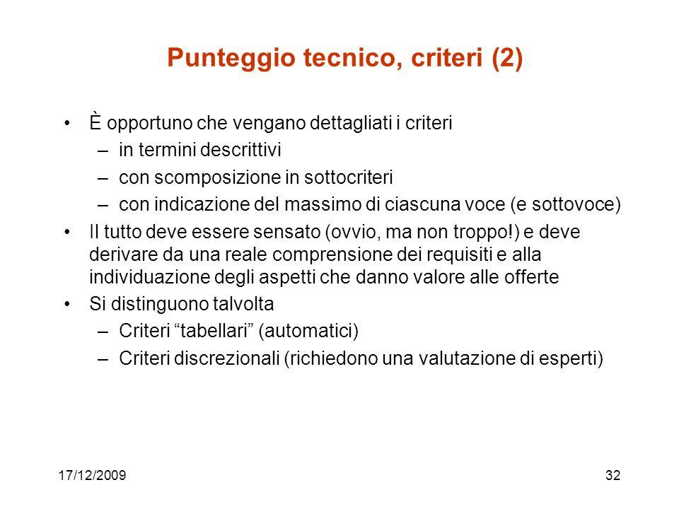 Punteggio tecnico, criteri (2)