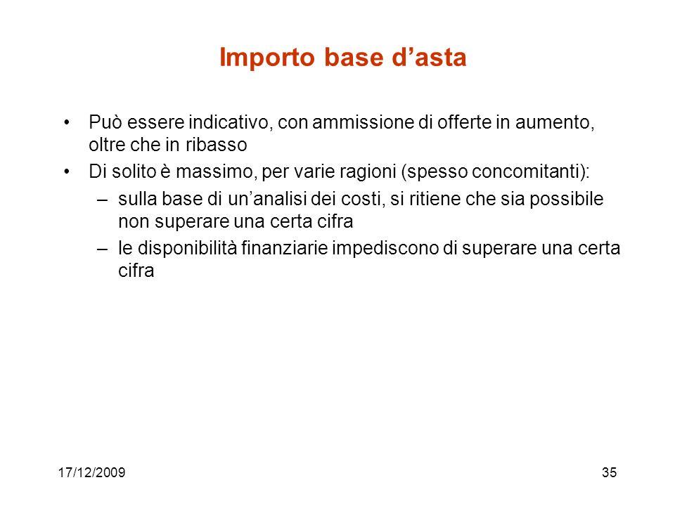 Importo base d'asta Può essere indicativo, con ammissione di offerte in aumento, oltre che in ribasso.