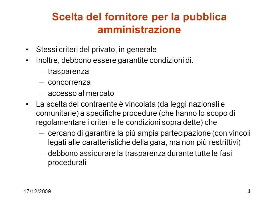 Scelta del fornitore per la pubblica amministrazione