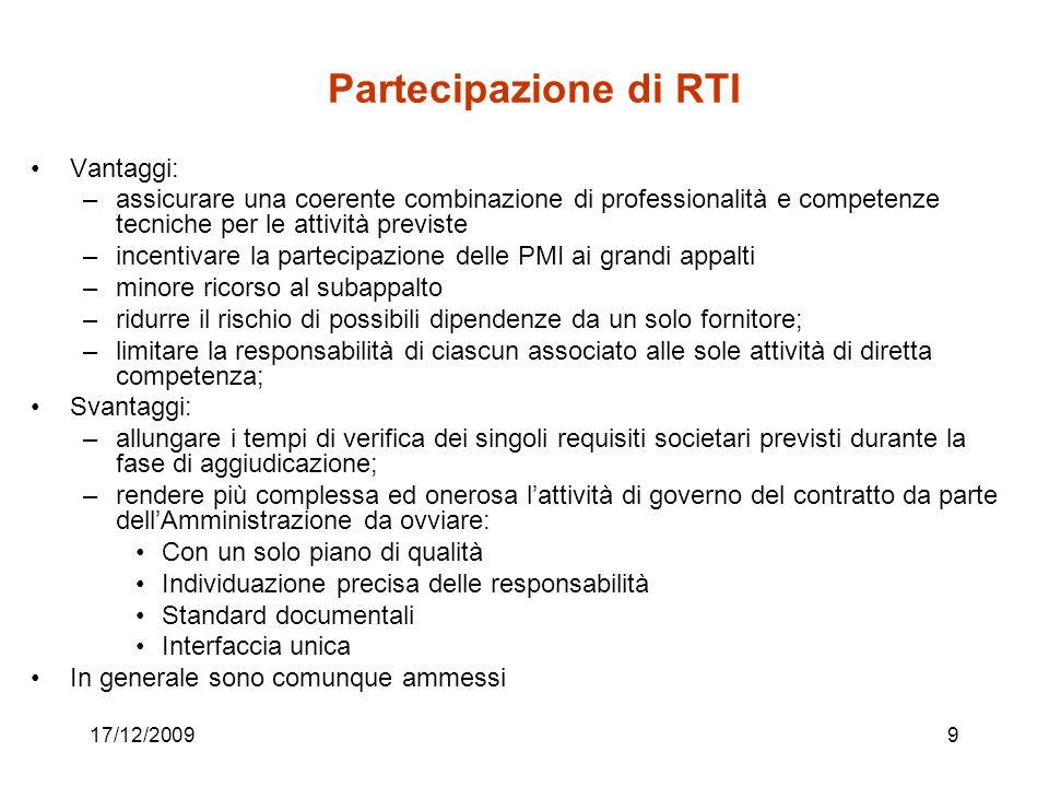 Partecipazione di RTI Vantaggi: