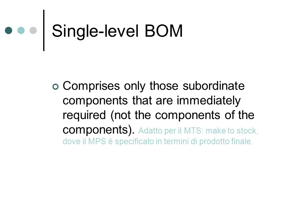 Single-level BOM