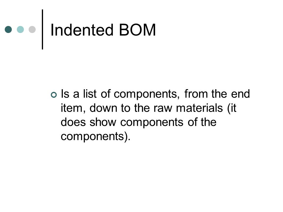 Indented BOMIs a list of components, from the end item, down to the raw materials (it does show components of the components).
