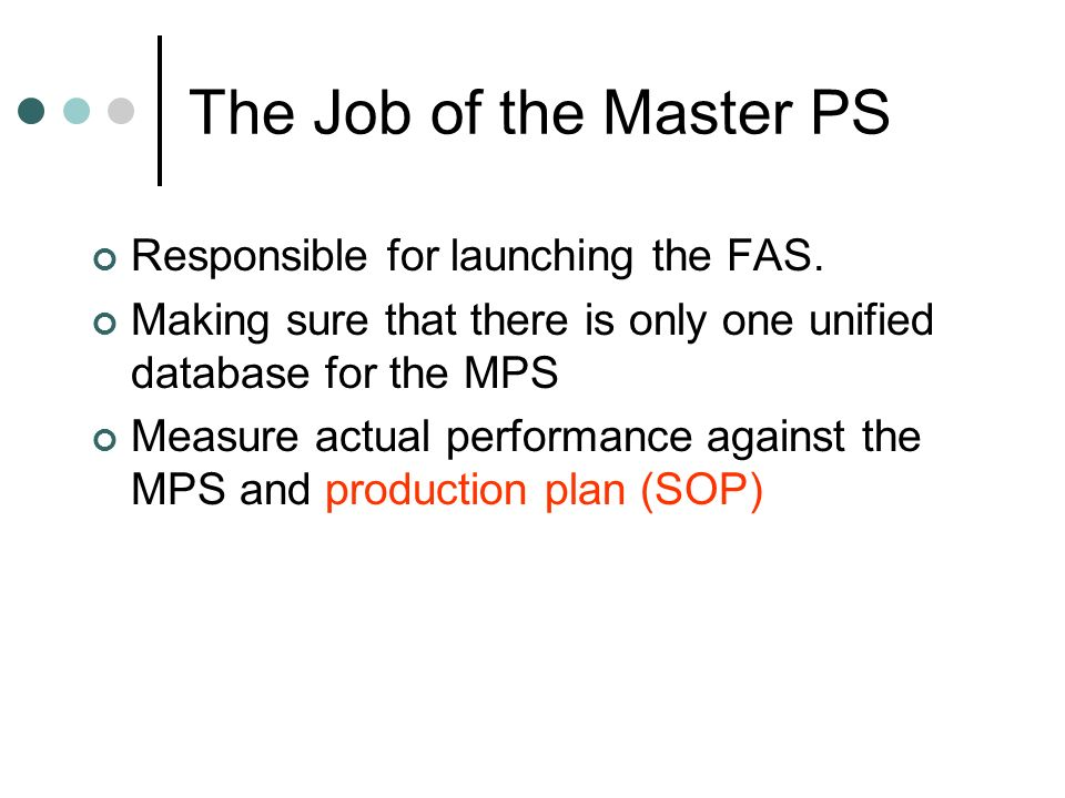 The Job of the Master PS Responsible for launching the FAS.