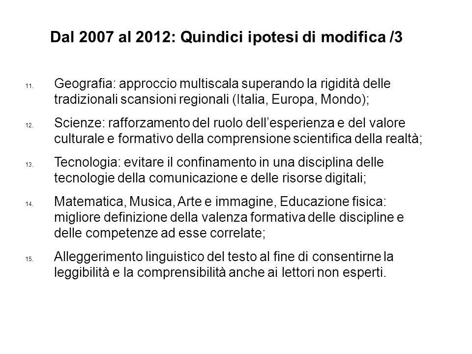 Dal 2007 al 2012: Quindici ipotesi di modifica /3