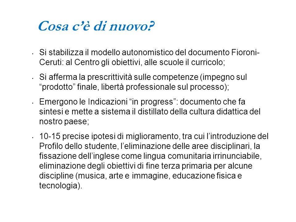 Cosa c'è di nuovo Si stabilizza il modello autonomistico del documento Fioroni- Ceruti: al Centro gli obiettivi, alle scuole il curricolo;
