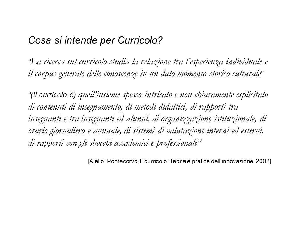 Cosa si intende per Curricolo