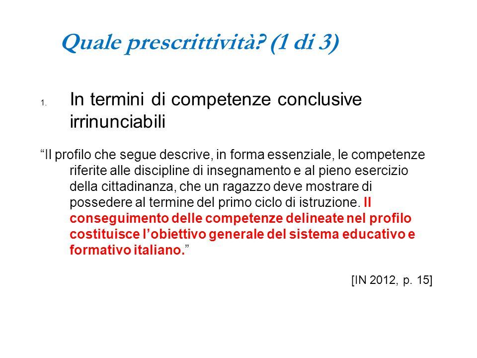 Quale prescrittività (1 di 3)