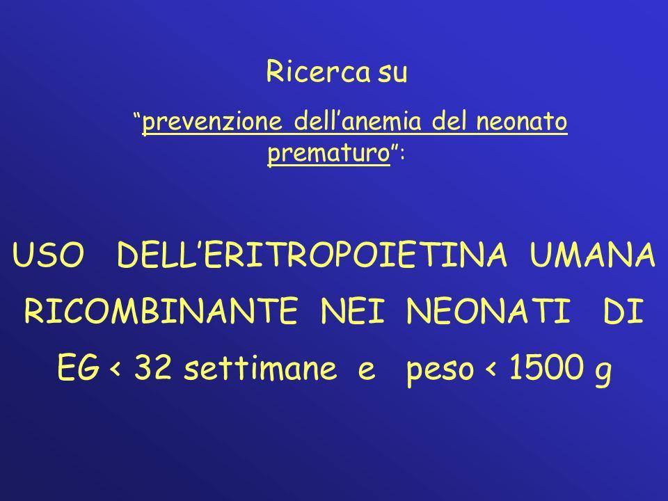 prevenzione dell'anemia del neonato prematuro :