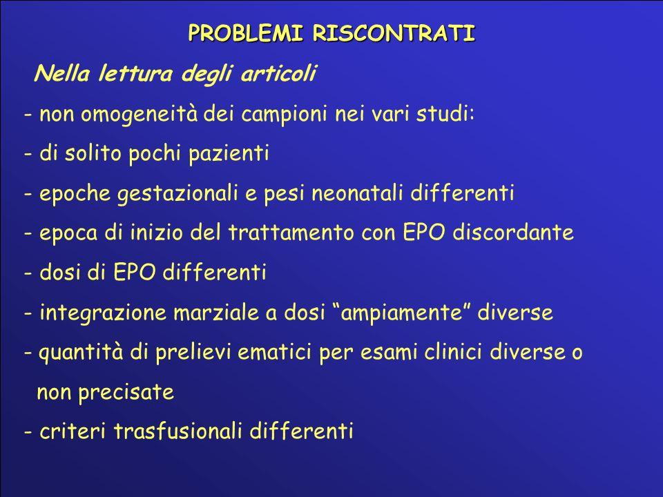 PROBLEMI RISCONTRATI Nella lettura degli articoli. - non omogeneità dei campioni nei vari studi: - di solito pochi pazienti.