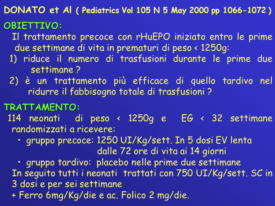 DONATO et Al ( Pediatrics Vol 105 N 5 May 2000 pp )