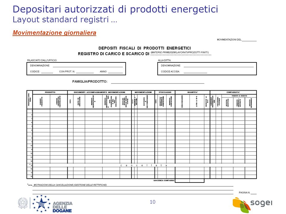 Depositari autorizzati di prodotti energetici Layout standard registri …