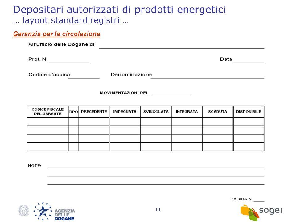 Depositari autorizzati di prodotti energetici … layout standard registri …