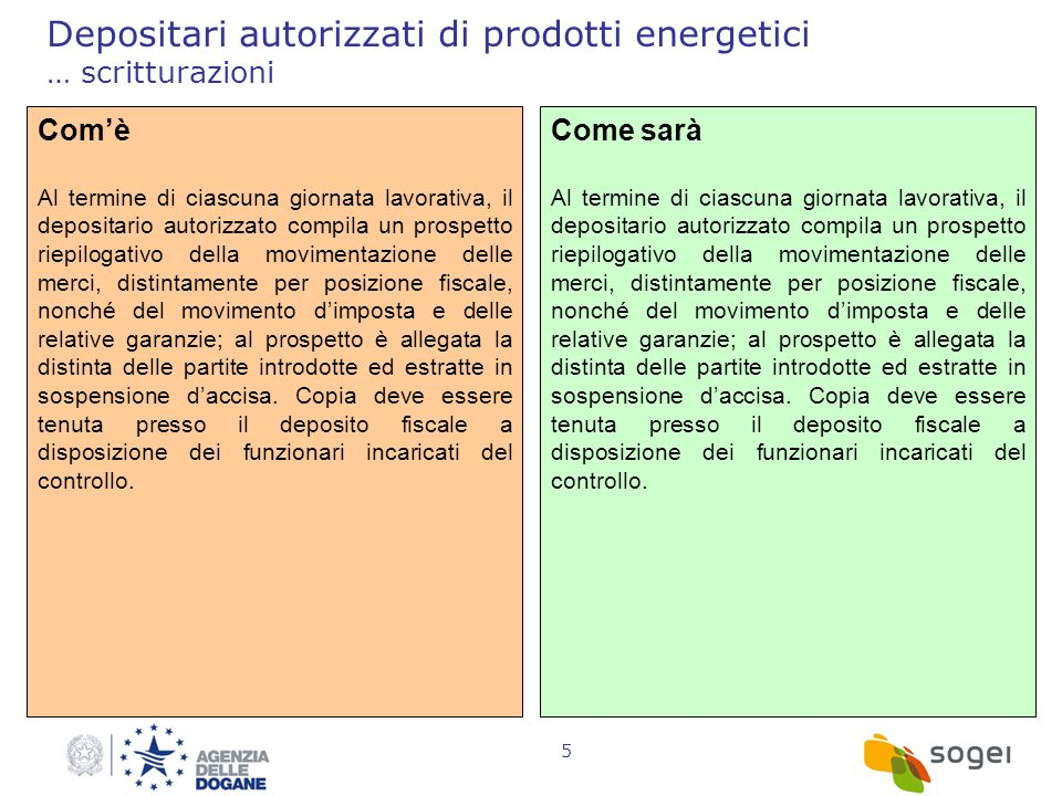 Depositari autorizzati di prodotti energetici … scritturazioni