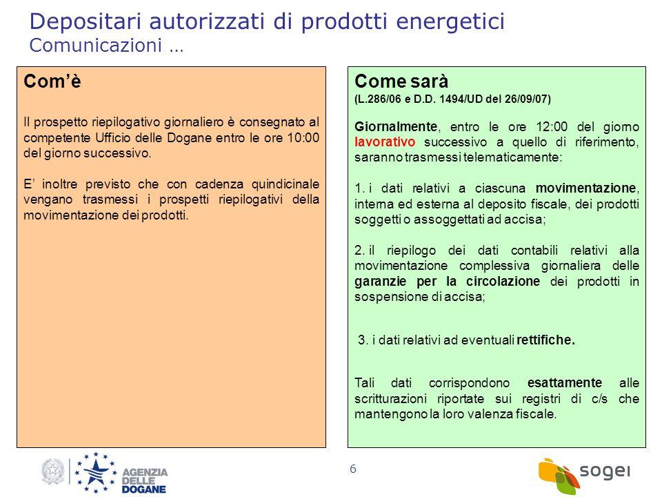 Depositari autorizzati di prodotti energetici Comunicazioni …