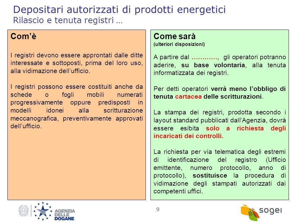 Depositari autorizzati di prodotti energetici Rilascio e tenuta registri …