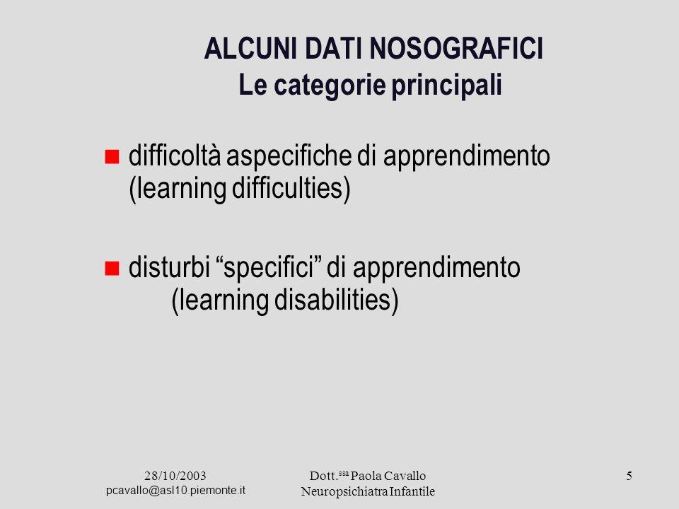 ALCUNI DATl NOSOGRAFICI Le categorie principali