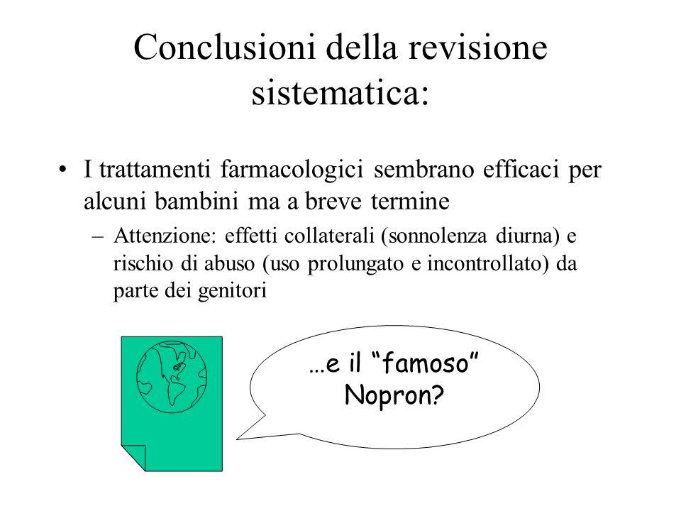 Conclusioni della revisione sistematica: