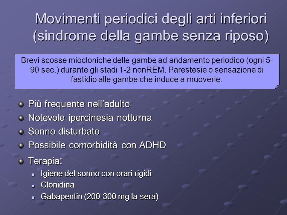 Movimenti periodici degli arti inferiori (sindrome della gambe senza riposo)