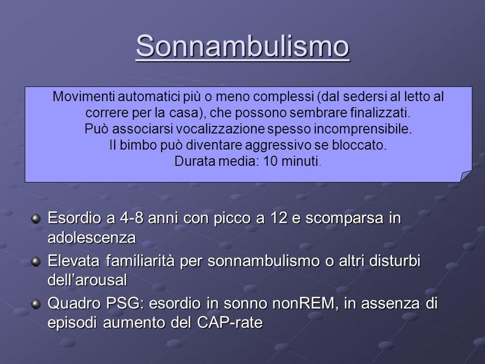 Sonnambulismo Movimenti automatici più o meno complessi (dal sedersi al letto al correre per la casa), che possono sembrare finalizzati.