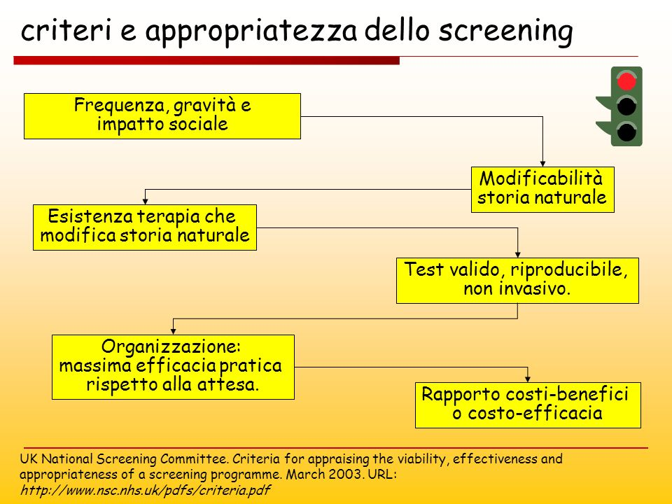 criteri e appropriatezza dello screening