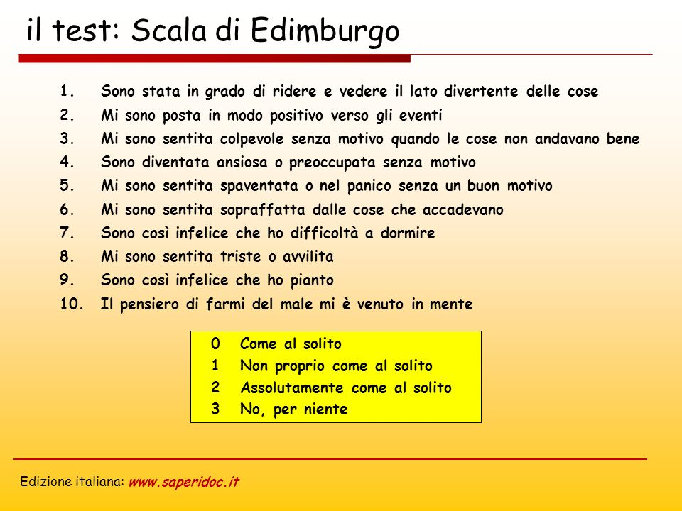 il test: Scala di Edimburgo