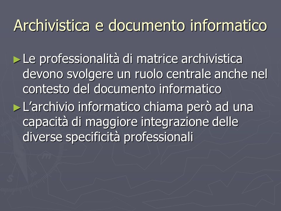 Archivistica e documento informatico
