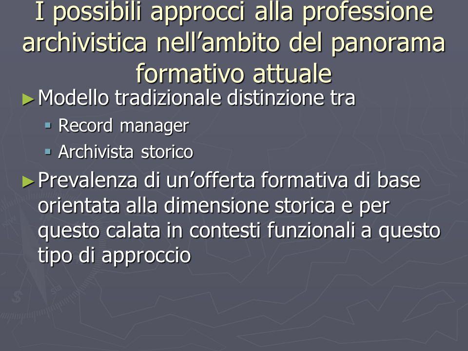 I possibili approcci alla professione archivistica nell'ambito del panorama formativo attuale