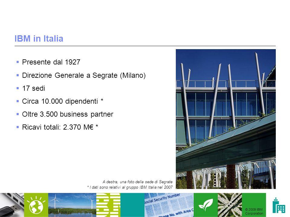IBM in Italia Presente dal 1927 Direzione Generale a Segrate (Milano)
