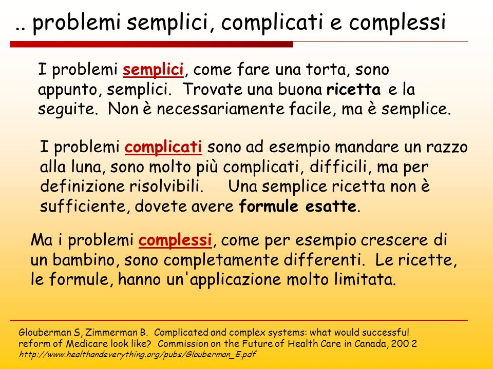 .. problemi semplici, complicati e complessi