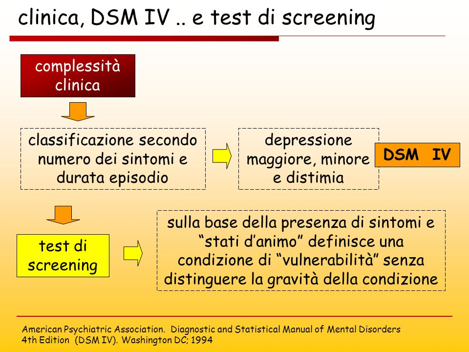 clinica, DSM IV .. e test di screening