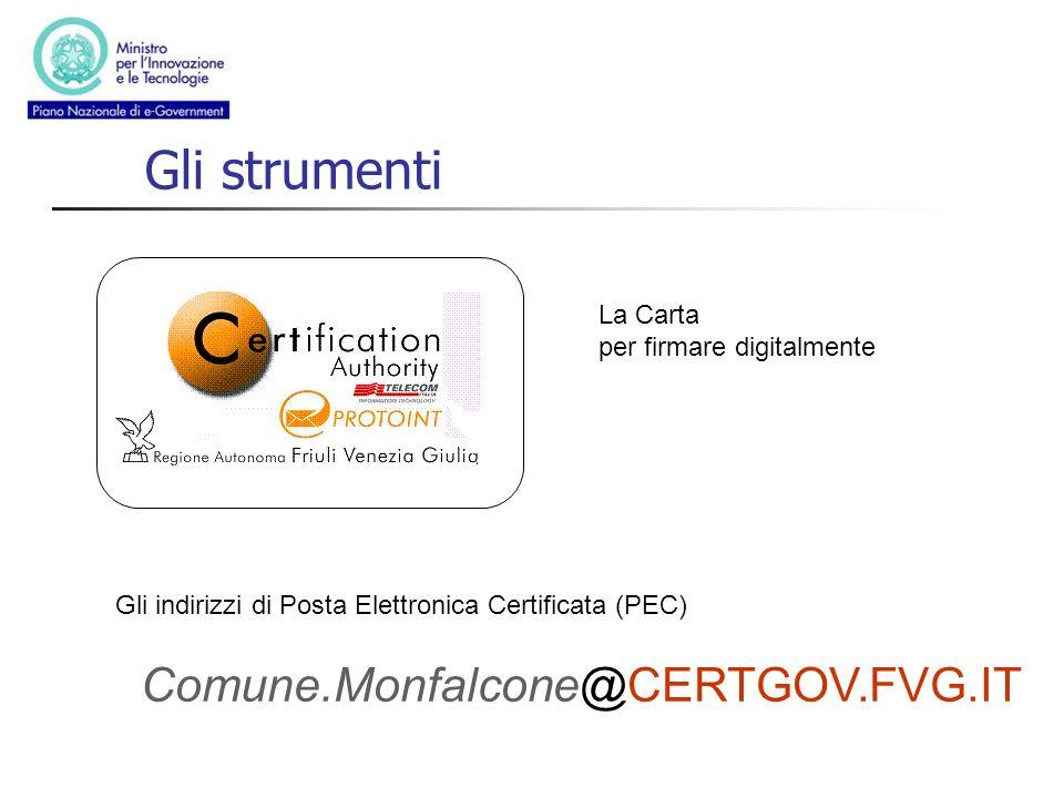 Gli strumenti Comune.Monfalcone@CERTGOV.FVG.IT