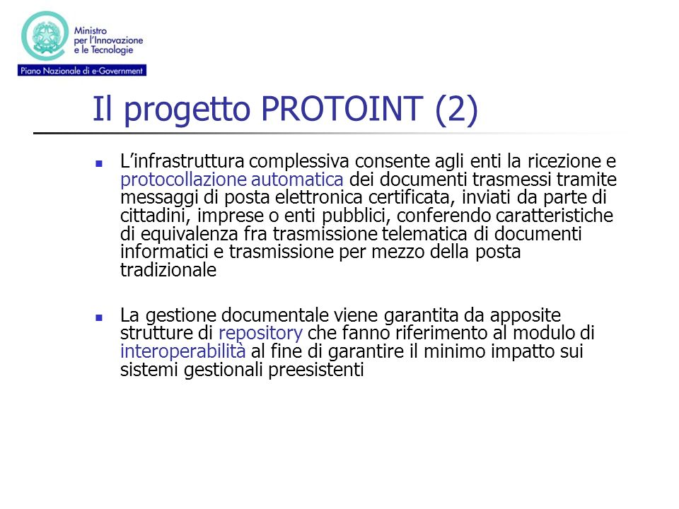 Il progetto PROTOINT (2)