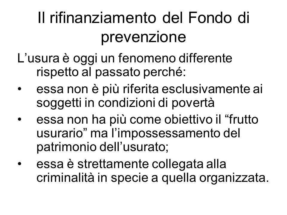 Il rifinanziamento del Fondo di prevenzione