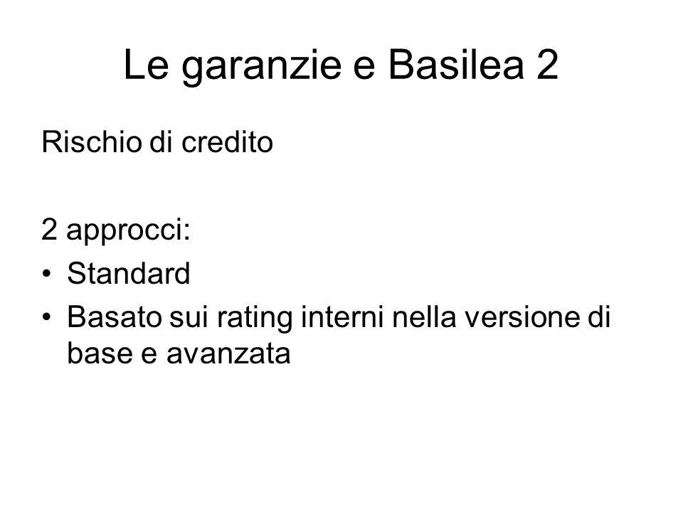 Le garanzie e Basilea 2 Rischio di credito 2 approcci: Standard