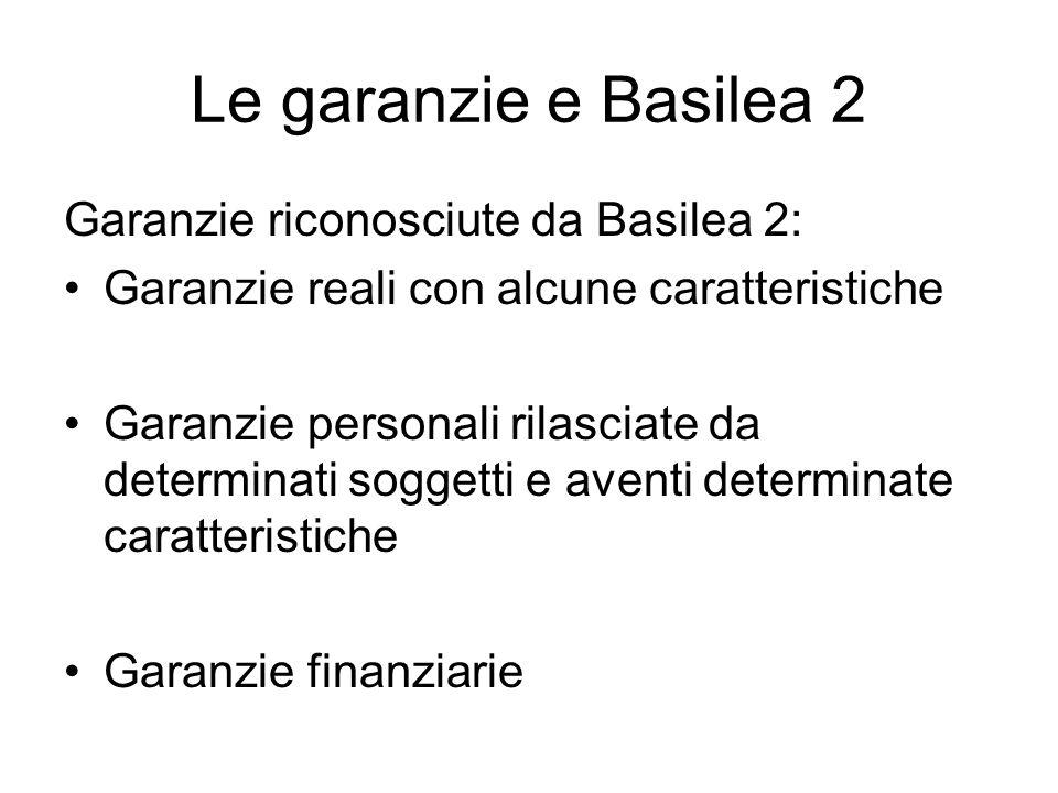 Le garanzie e Basilea 2 Garanzie riconosciute da Basilea 2:
