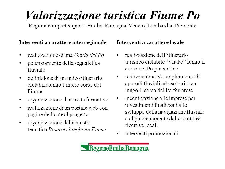 Valorizzazione turistica Fiume Po Regioni compartecipanti: Emilia-Romagna, Veneto, Lombardia, Piemonte