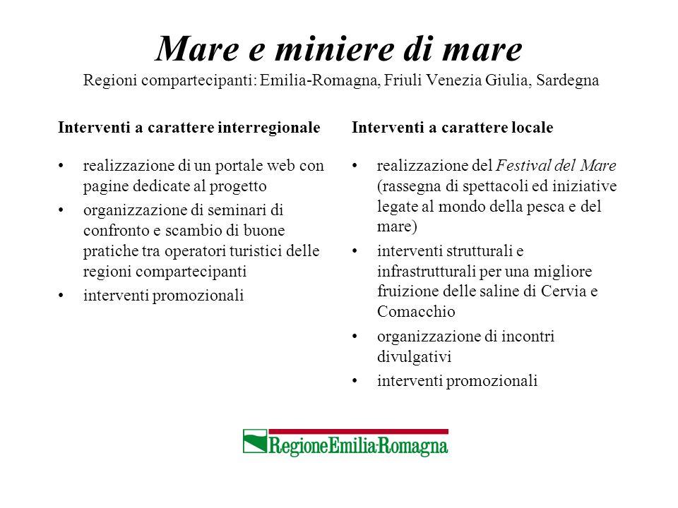 Mare e miniere di mare Regioni compartecipanti: Emilia-Romagna, Friuli Venezia Giulia, Sardegna