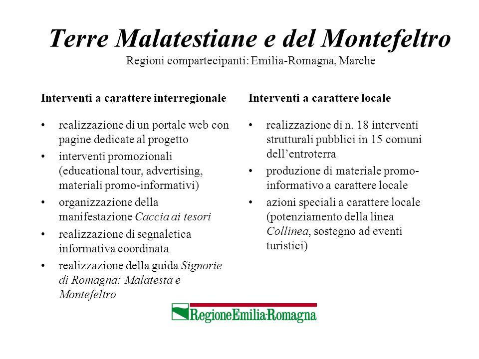 Terre Malatestiane e del Montefeltro Regioni compartecipanti: Emilia-Romagna, Marche