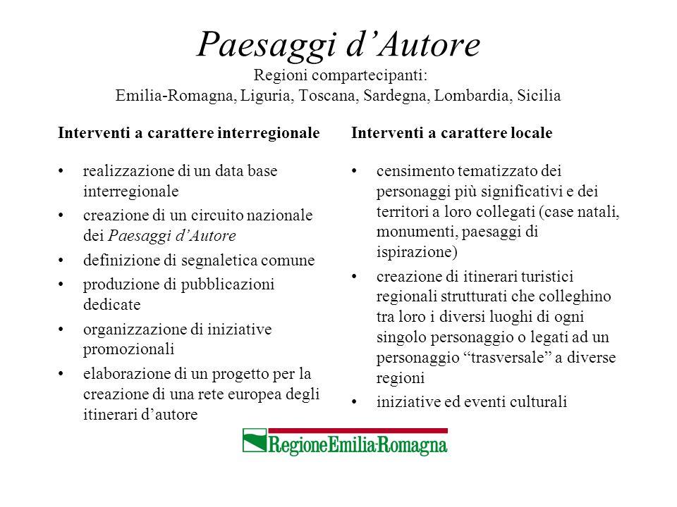Paesaggi d'Autore Regioni compartecipanti: Emilia-Romagna, Liguria, Toscana, Sardegna, Lombardia, Sicilia