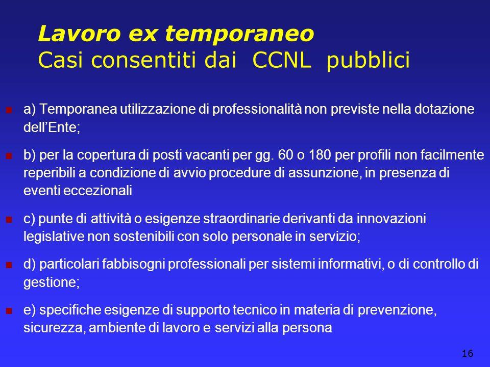 Lavoro ex temporaneo Casi consentiti dai CCNL pubblici