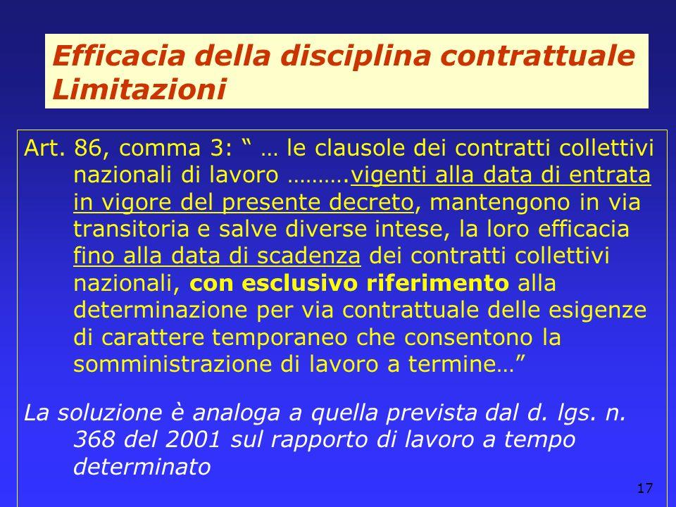 Efficacia della disciplina contrattuale Limitazioni