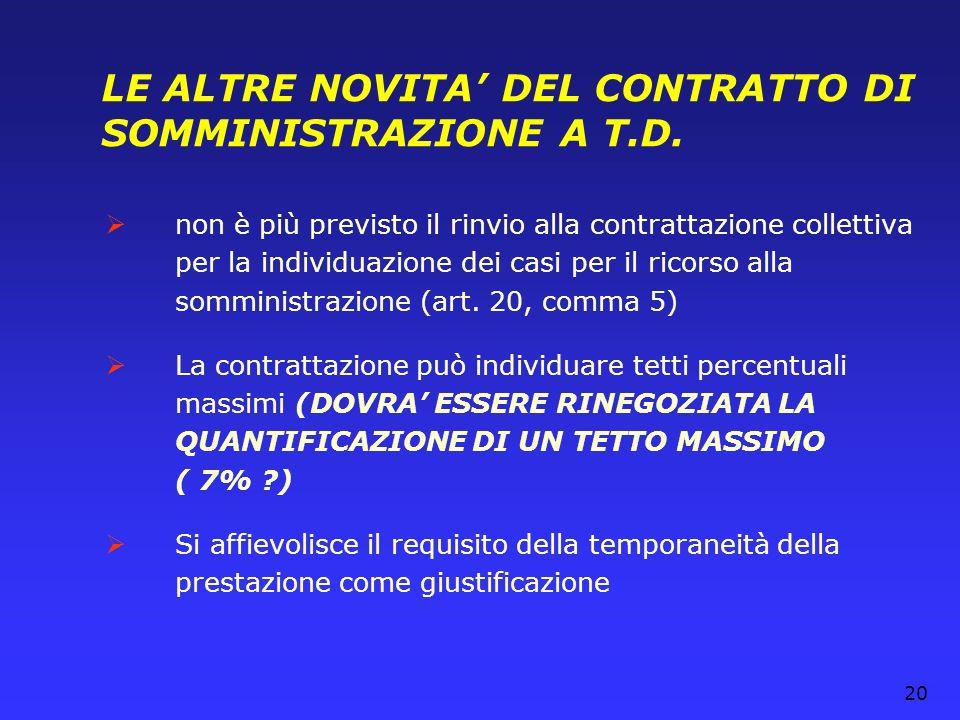 LE ALTRE NOVITA' DEL CONTRATTO DI SOMMINISTRAZIONE A T.D.