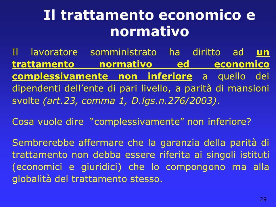 Il trattamento economico e normativo