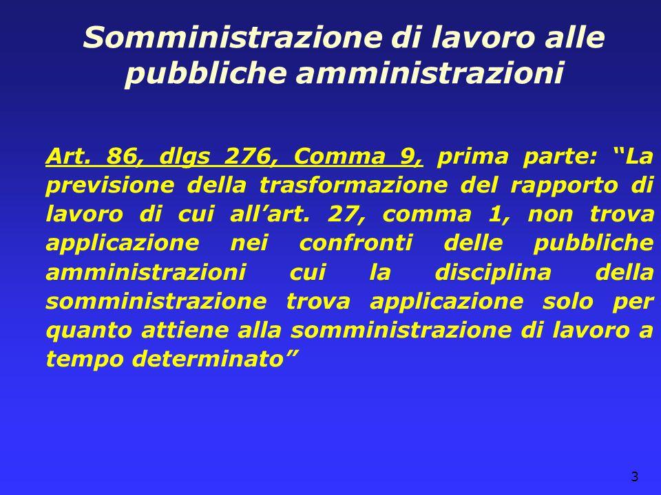 Somministrazione di lavoro alle pubbliche amministrazioni